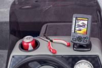 Boat dash drink holder, windscreen and fishfinder