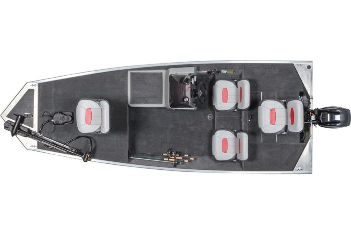 2015 TRACKER Pro 160 overhead deck layout open