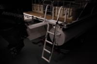 Large 4-step powder coated boarding ladder w/framed platform & tall grab rails
