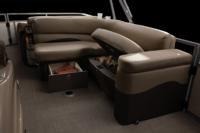 Aft L-lounge w/extra-deep cushions, pillowtop backs, lighted lockable underseat storage & pull-out drawer