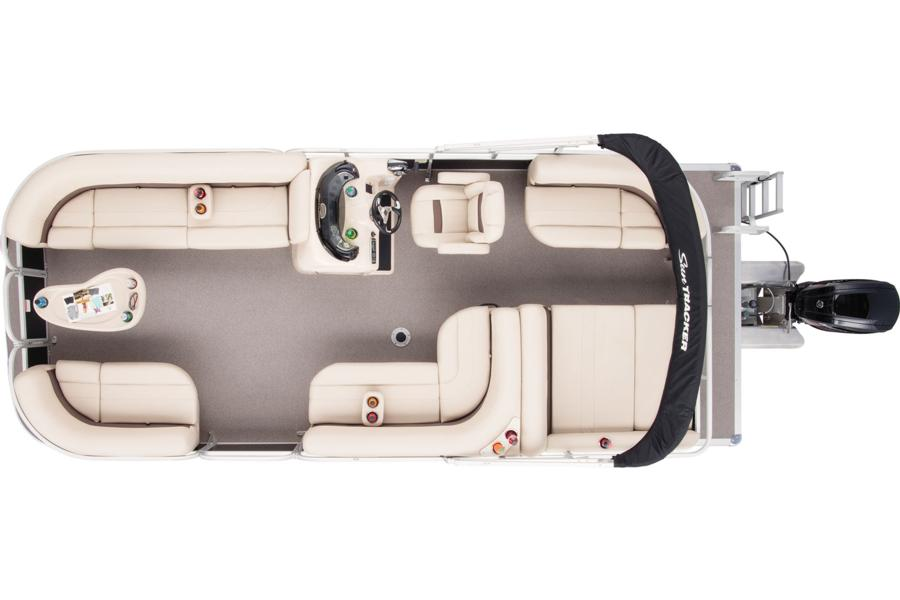 2018 Sun Tracker pontoon Party Barge 22 DLX Overhead view w/closed compartments stokley's marine