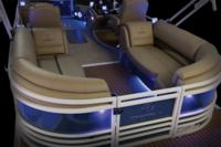 NEW port & starboard aft couches w/deep cushions, pillowtop backs, lumbar support, headrests, lighted lockable storage, lockable arm storage & lighted floor drink holders