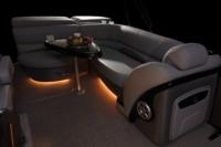 Aft L-lounge w/extra-deep cushions, pillowtop backs & lockable underseat storage