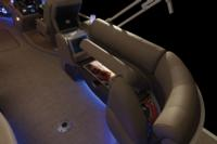 Port & starboard aft couches w/deep cushions, pillowtop backs, lumbar support, headrests, lighted lockable storage, lockable arm storage & lighted floor drink holders
