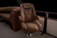 Oversized, adjustable, reclining & swiveling port bucket seat w/self-leveling arms & ventilated storage pouch on back