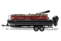 Black Metallic Diamond Coat, Copper Red fencing & Tan interior<br>Exclusive QuickLift™ 11' (3.35 m) color-keyed Bimini top w/Diamond Coat™, LED courtesy lights & protective boot (in trailer position)