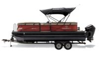 Black Metallic Diamond Coat, Copper Red fencing & Tan interior<br>Exclusive QuickLift™ 11' (3.35 m) color-keyed Bimini top w/Diamond Coat™, LED courtesy lights & protective boot (shown deployed)