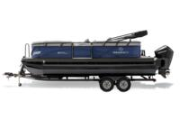 Black Metallic Diamond Coat, Indigo Blue fencing & Platinum interior<br>Exclusive QuickLift™ 11' (3.35 m) color-keyed Bimini top w/Diamond Coat™, LED courtesy lights & protective boot (in trailer position)