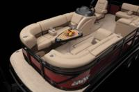 Wraparound bow lounges & removable table w/molded-in drink holders & tall & short pedestals (fore & aft pedestal base locations)