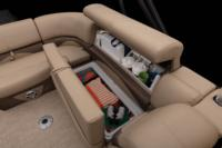 Aft L-lounge w/new Stow More™, extra-deep cushions, pillowtop backs, underseat storage, arm storage & drink holder