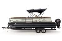 Black Metallic Diamond Coat, Pearl White fencing & Tan interior<br>Exclusive QuickLift™ 11' (3.35 m) color-keyed Bimini top w/Diamond Coat™, LED courtesy lights & protective boot (shown deployed)