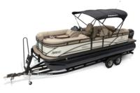 2019 REGENCY 230 DL3 w/standard Mercury® 150 L FourStroke motor, shown on optional trailer <br>Exclusive QuickLift™ 11' (3.35 m) color-keyed Bimini top w/Diamond Coat™, LED courtesy lights & protective boot (shown deployed)