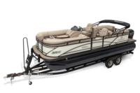 2019 REGENCY 230 DL3 w/standard Mercury® 150 L FourStroke motor, shown on optional trailer <br>Exclusive QuickLift™ 11' (3.35 m) color-keyed Bimini top w/Diamond Coat™, LED courtesy lights & protective boot (in trailer position)