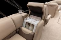 Port aft lounge w/new Stow More™, deep cushions, pillowtop backs, lumbar support, lockable arm storage & drink holders