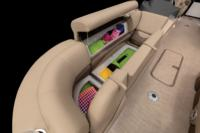 Wraparound starboard bow lounge integrated into console w/new Stow More™, extra-deep cushions, pillowtop backs, lumbar support, lockable underseat storage drink holder