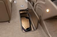 "88"" (2.24 m) long, 23"" (58.42 cm) deep lighted in-floor storage compartment w/snap-on mat"