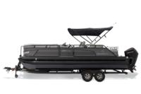 Black Metallic Diamond Coat, Charcoal fencing & Platinum interior<br>Exclusive QuickLift™ 11' (3.35 m) color-keyed Bimini top w/Diamond Coat™, LED courtesy lights & protective boot (shown deployed)