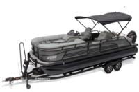 2019 REGENCY 230 LE3 Sport w/standard Mercury® 200 L FourStroke w/DTS controls motor, shown on optional trailer <br>Exclusive QuickLift™ 11' (3.35 m) color-keyed Bimini top w/Diamond Coat™, LED courtesy lights & protective boot (shown deployed)