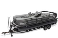 2019 REGENCY 230 LE3 Sport w/standard Mercury® 200 L FourStroke w/DTS controls motor, shown on optional trailer <br>Exclusive QuickLift™ 11' (3.35 m) color-keyed Bimini top w/Diamond Coat™, LED courtesy lights & protective boot (in trailer position)