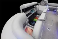 Wraparound starboard bow lounge w/new Stow More™, deep cushions, pillowtop backs, lumbar support, lighted lockable storage, 12V outlet & lighted drink holder