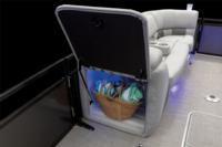 Lighted lockable storage in port bow lounge arm