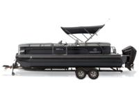 Optional Black Metallic Diamond Coat, Charcoal fencing & Platinum interior<br>Powered 10' (3.05 m) color-keyed Bimini top w/Diamond Coat™, aft-facing camera, LED courtesy lights & protective boot (shown deployed)