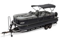 2019 REGENCY 230 LE3 w/standard Mercury® 200 L FourStroke w/DTS motor, shown on optional trailer <br>Powered 10' (3.05 m) color-keyed Bimini top w/Diamond Coat™, aft-facing camera, LED courtesy lights & protective boot (shown deployed)