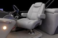 New oversized, adjustable, reclining swivel captain's chair w/self-leveling arms & ventilated storage pouch on back