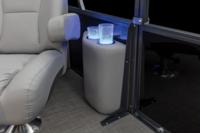 Lighted drink holders nearby co-captain's chair