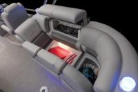 Starboard aft lounge w/new Stow More™, deep cushions, pillowtop backs, lumbar support, lockable arm storage & lighted drink holders