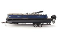 Black Metallic Diamond Coat, Storm Blue fencing & Tan interior<br>Exclusive QuickLift™ 11' (3.35 m) color-keyed Bimini top w/Diamond Coat™, LED courtesy lights & protective boot (in trailer position)