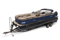 2019 REGENCY 250 DL3 w/standard Mercury® 200 L FourStroke w/DTS controls motor, shown on optional trailer <br>Exclusive QuickLift™ 11' (3.35 m) color-keyed Bimini top w/Diamond Coat™, LED courtesy lights & protective boot (in trailer position)