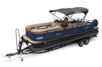2019 REGENCY 250 DL3 w/standard Mercury® 200 L FourStroke w/DTS controls motor, shown on optional trailer <br>Exclusive QuickLift™ 11' (3.35 m) color-keyed Bimini top w/Diamond Coat™, LED courtesy lights & protective boot (shown deployed)