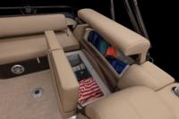 Aft switch-back L-lounge w/deep cushions, pillowtop backs, lumbar support, underseat & arm storage & drink holders
