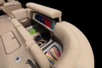Wraparound port bow lounge w/new Stow More™, extra-deep cushions, pillowtop backs, lumbar support, lockable underseat storage, arm storage & drink holders