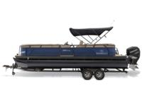 Black Metallic Diamond Coat, Indigo Blue fencing & Tan interior<br>Powered 10' (3.05 m) color-keyed Bimini top w/Diamond Coat™, aft-facing camera, LED courtesy lights & protective boot (shown deployed)