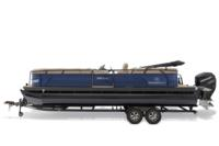 Black Metallic Diamond Coat, Indigo Blue fencing & Tan interior<br>Powered 10' (3.05 m) color-keyed Bimini top w/Diamond Coat™, aft-facing camera, LED courtesy lights & protective boot (in trailer position)