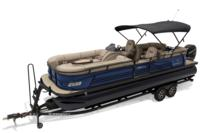 2019 REGENCY 250 LE3 w/standard Mercury® 250 L Verado® motor, shown on optional trailer <br>Powered 10' (3.05 m) color-keyed Bimini top w/Diamond Coat™, aft-facing camera, LED courtesy lights & protective boot (shown deployed)