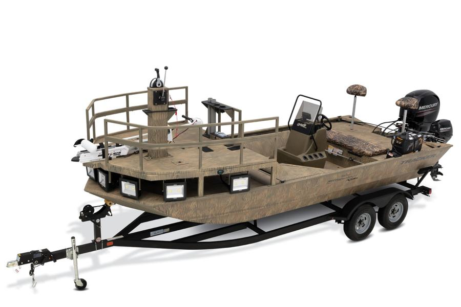 Tracker center console jon boats include this model with bowfishing platform and kicker motor
